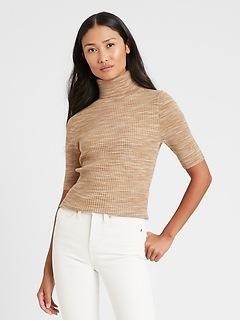 Space-Dye Turtleneck Sweater Top