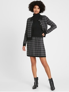 Plaid Polo Cardigan Sweater