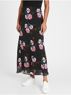 Floral Bias-Cut Maxi Skirt