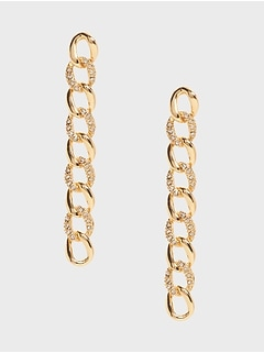 Pavé Link Linear Earrings