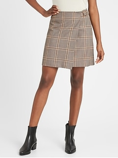 Petite Plaid Wrap Mini Skirt