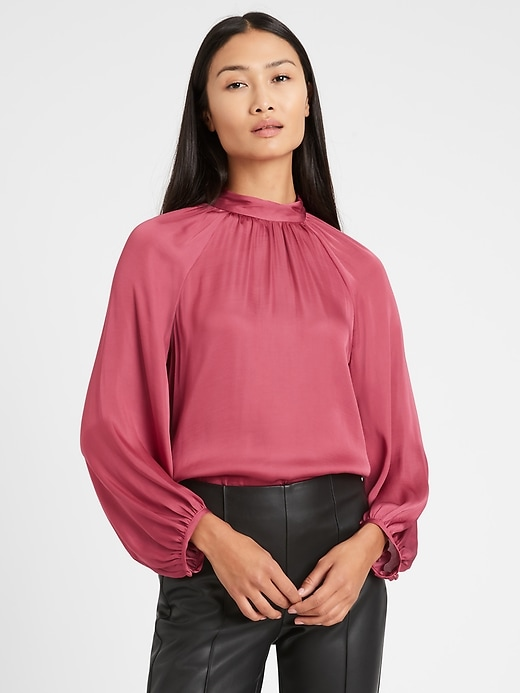 Satin Billow-Sleeve Top