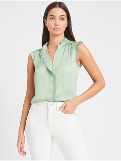 Satin Pleated Shirt
