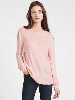 Cozy Ribbed Puff Sleeve Top