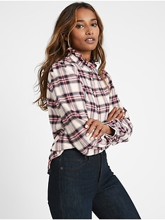 Flannel Ruffle-Collar Shirt