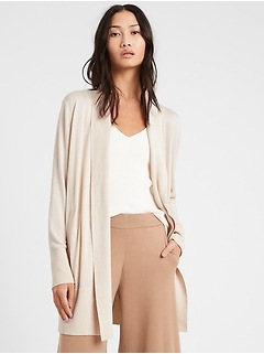 Silk Cotton Long Cardigan Sweater