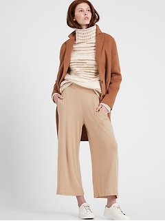 Ribbed-Knit Wide-Leg Lounge Pant