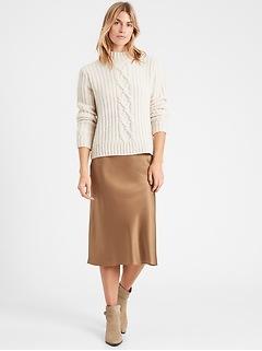 Petite Heritage Washable Silk Bias-Cut Skirt