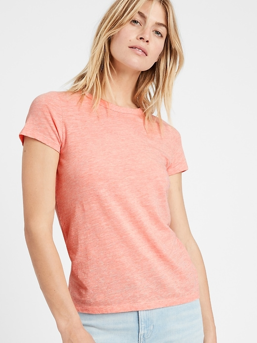 Petite Slub Cotton-Modal Crew-Neck T-Shirt