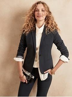 Petite Classic-Fit Washable Italian Wool-Blend Blazer